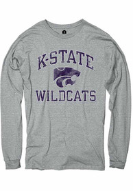 K-State Wildcats Rally Number One Distressed Fashion T Shirt - Grey