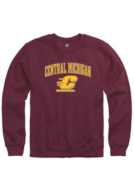 Central Michigan Chippewas Rally Arch Crew Sweatshirt - Maroon