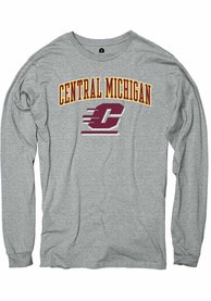 Central Michigan Chippewas Rally Arch Mascot T Shirt - Grey