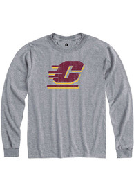Central Michigan Chippewas Rally Primary Team logo Distressed T Shirt - Grey