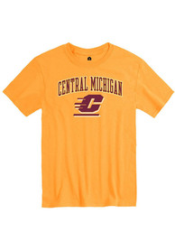 Central Michigan Chippewas Rally Arch Mascot T Shirt - Gold