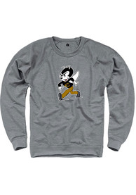 Emporia State Hornets Rally French Terry Distressed Logo Crew Sweatshirt - Grey