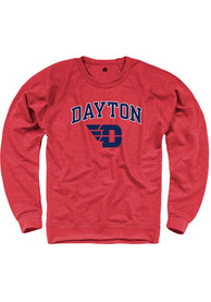 Dayton Flyers Rally French Terry Arch Mascot Crew Sweatshirt - Red