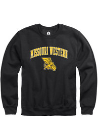 Missouri Western Griffons Rally Fleece Arch Mascot Crew Sweatshirt - Black