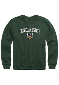Cleveland State Vikings Rally Fleece Arch Mascot Crew Sweatshirt - Green