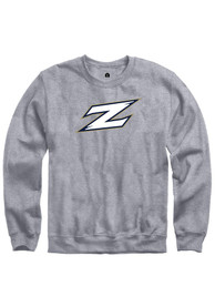 Akron Zips Rally Fleece Team Logo Crew Sweatshirt - Grey