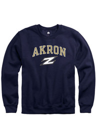 Akron Zips Rally Fleece Arch Mascot Crew Sweatshirt - Navy Blue