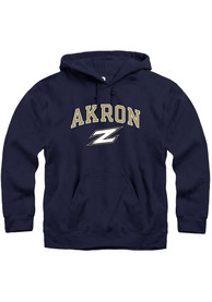 Akron Zips Rally Fleece Arch Mascot Hooded Sweatshirt - Navy Blue