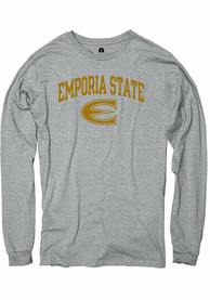 Emporia State Hornets Rally Ringspun Arch Mascot T Shirt - Charcoal