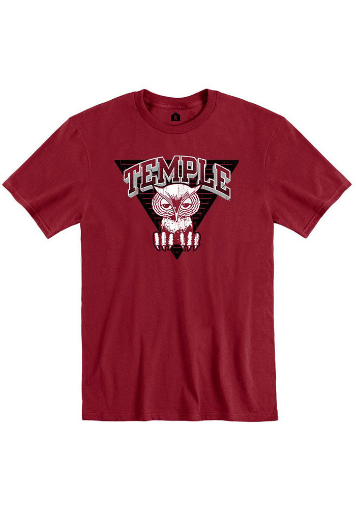 Temple Owls Rally Vault Owl Fashion T Shirt - Cardinal
