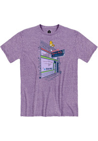 Rock-A-Belly Deli Heather Purple Building Front Short Sleeve T-Shirt