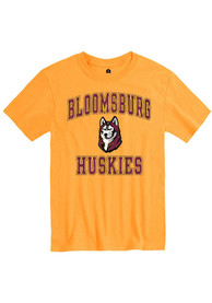 Bloomsburg University Huskies Rally Number One Distressed T Shirt - Gold