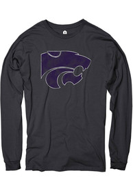 K-State Wildcats Rally Distressed Primary Logo Fashion T Shirt - Black