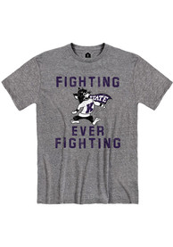 K-State Wildcats Rally Fighting Ever Fighting Fashion T Shirt - Grey