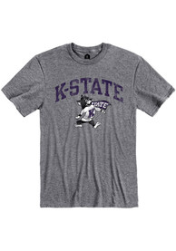 K-State Wildcats Rally Distressed Arch Mascot Fashion T Shirt - Grey
