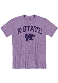 K-State Wildcats Rally Distressed Arch Mascot Fashion T Shirt - Lavender