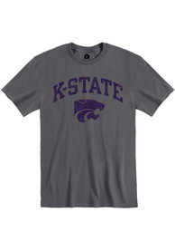 K-State Wildcats Rally Distressed Arch Mascot Fashion T Shirt - Charcoal