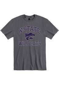 K-State Wildcats Rally Number One Distressed Fashion T Shirt - Charcoal