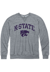 K-State Wildcats Rally Distressed Arch Mascot Crew Sweatshirt - Grey