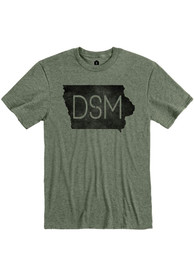 Des Moines Rally DSM State Shape Fashion T Shirt - Olive