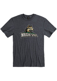 Wright State Raiders Distressed Logo T Shirt - Charcoal