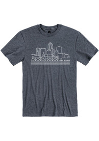 Des Moines Rally City Skyline Fashion T Shirt - Navy Blue