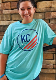 Rally KC NWSL Teal Prime Distressed Short Sleeve Fashion T Shirt