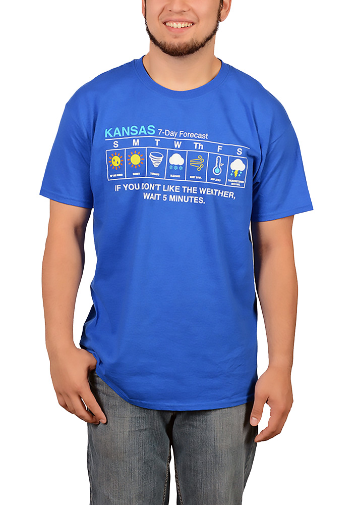 Kansas Blue 7 Day Weather Forecast Short Sleeve T Shirt