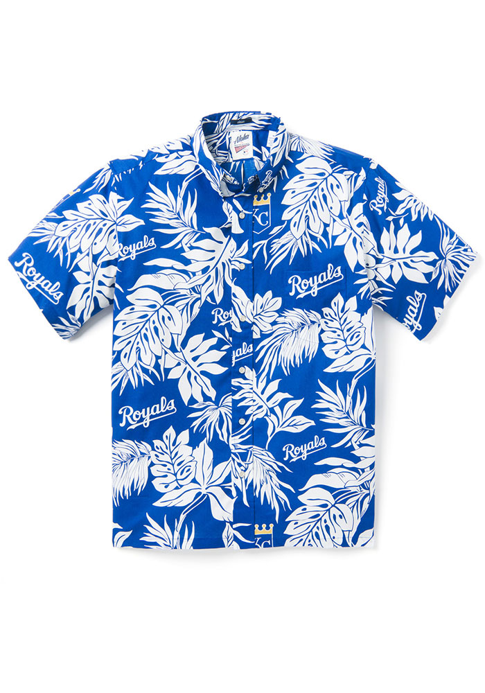 Kansas City Royals Mens Navy Blue Aloha Short Sleeve Dress Shirt - Image 1