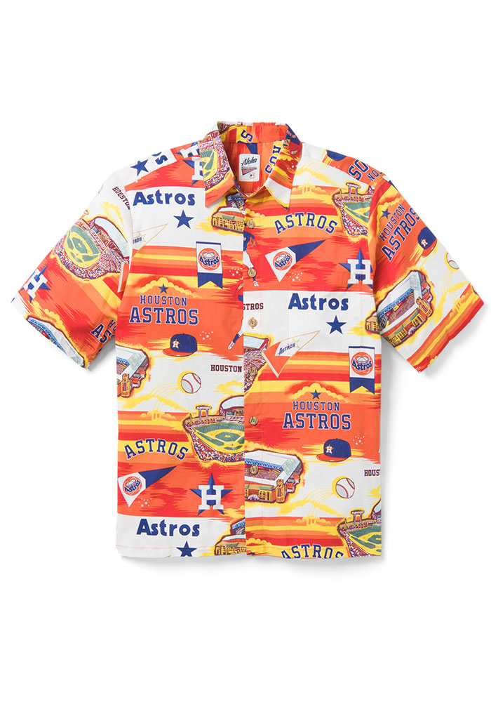 Houston Astros Mens White Scenic Short Sleeve Dress Shirt - Image 1