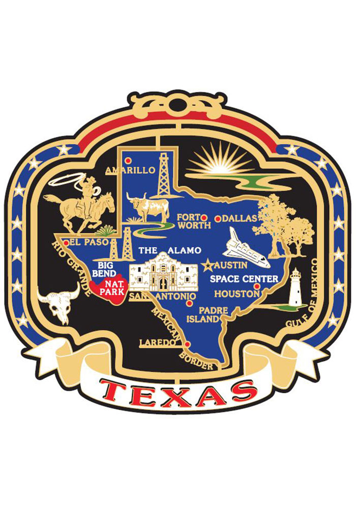 Texas Colored Map Ornament