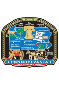 Pennsylvania State Shape Colored Brass Magnet