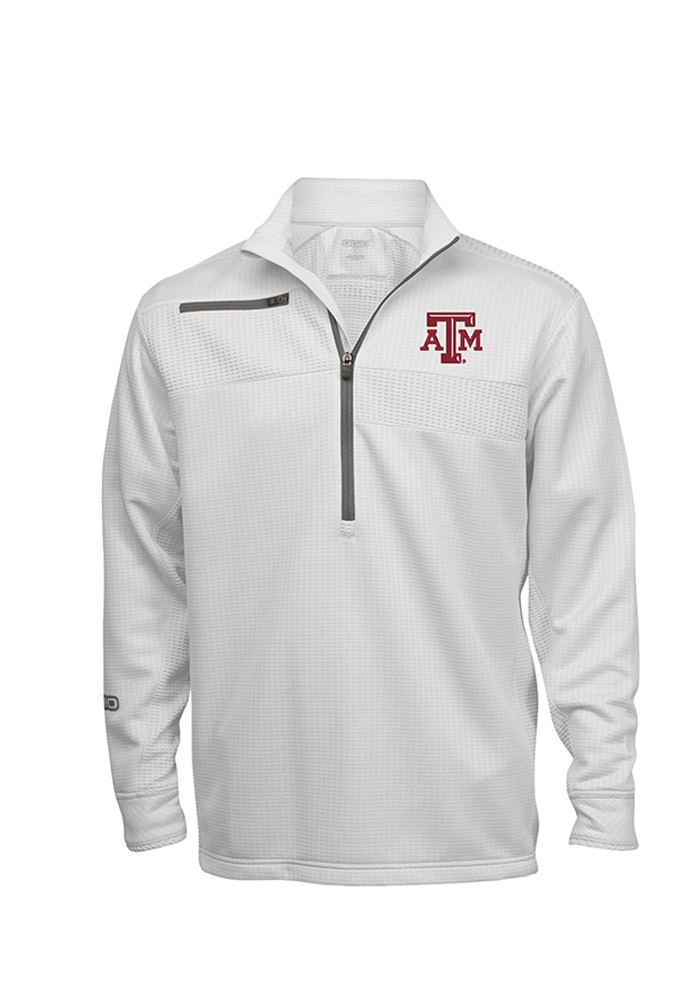 Texas A&M Aggies Mens White Fender Long Sleeve 1/4 Zip Pullover - Image 1