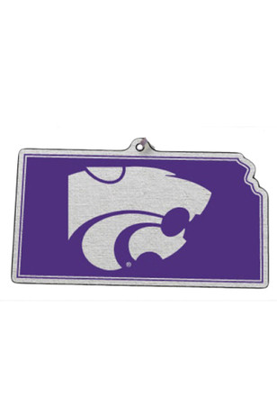 K-State Wildcats State With Logo Ornament