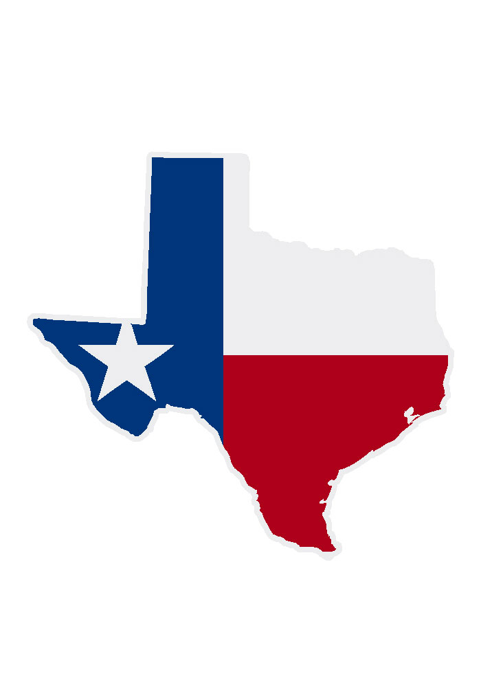 Texas 3.5x5 Texas Flag in State Auto Decal - Red - Image 1