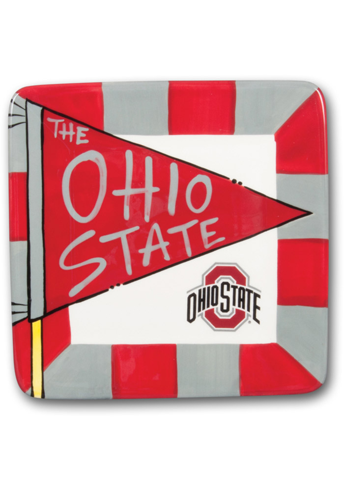 Ohio State Buckeyes Striped Pennant Plate - Image 1