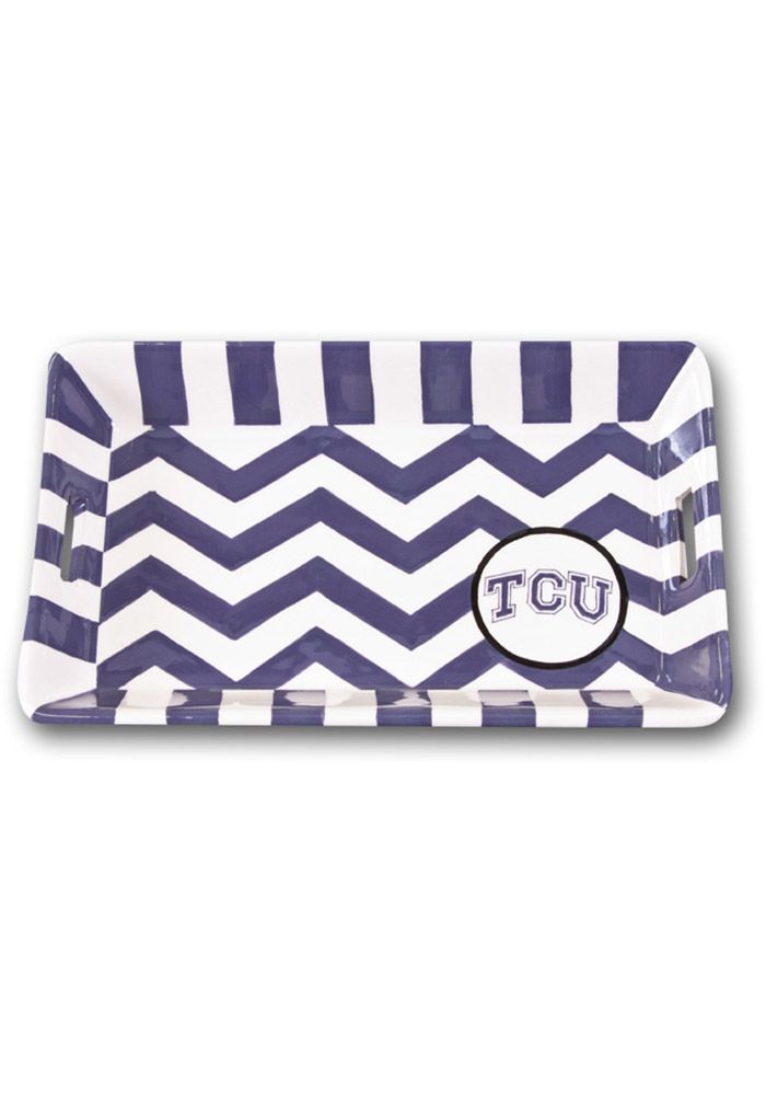 TCU Horned Frogs Mini Chevron Serving Tray - Image 1