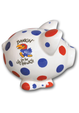 Kansas Jayhawks Polka Dot Piggy Piggy Bank