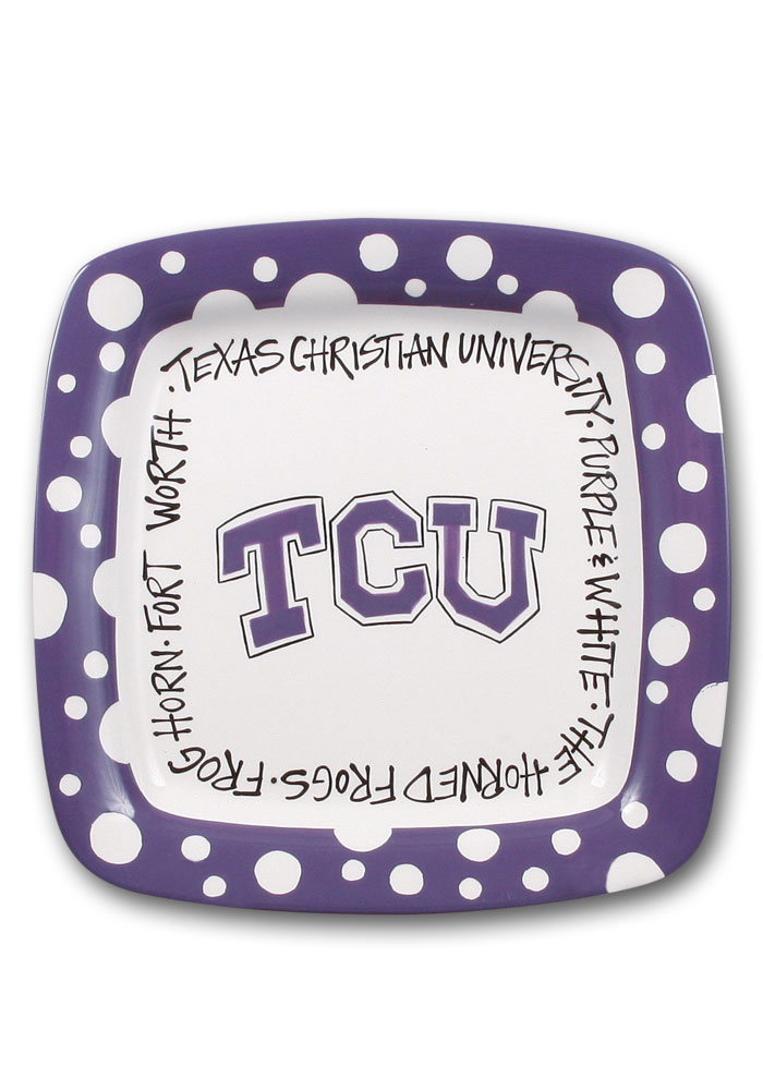 TCU Horned Frogs Polka Dot Square Plate - Image 1