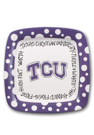 TCU Horned Frogs Polka Dot Square Plate