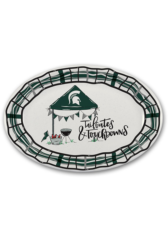 Michigan State Spartans 18x12 Melamine Oval Tailgate Serving Tray - Image 1
