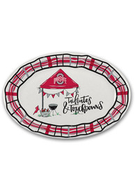 Ohio State Buckeyes 18x12 Melamine Oval Tailgate Serving Tray