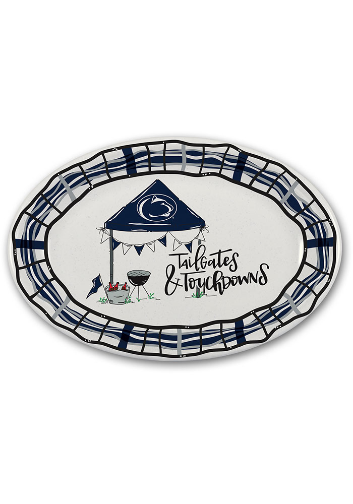 Penn State Nittany Lions 18x12 Melamine Oval Tailgate Serving Tray - Image 1