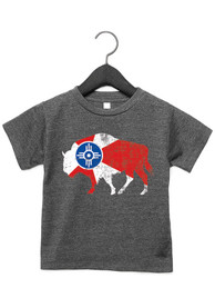 Wichita Toddler Dark Grey City Flag Buffalo Short Sleeve T Shirt