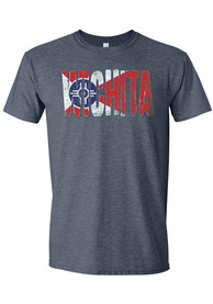 Wichita Navy Blue City Flag Wordmark Short Sleeve T Shirt
