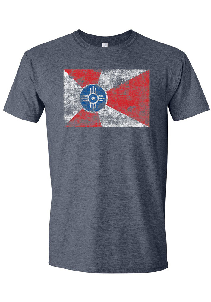 Wichita Navy Blue City Flag Short Sleeve Fashion T Shirt - Image 1
