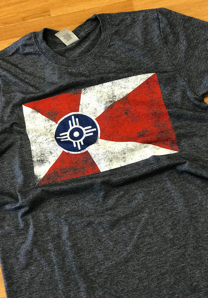 Wichita Navy Blue City Flag Short Sleeve Fashion T Shirt - Image 3