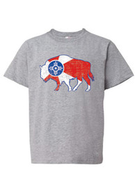 Wichita Youth Grey City Flag Buffalo Short Sleeve T Shirt