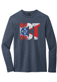 Wichita Navy Blue City Flag ICT Long Sleeve T Shirt