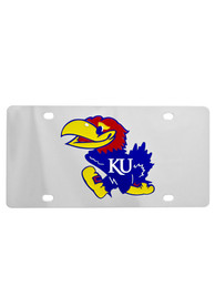Kansas Jayhawks Logo on Silver Car Accessory License Plate